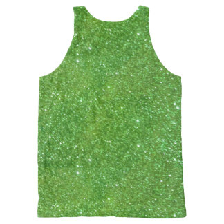 Green Glitter Abstract Texture All-Over Print Singlet