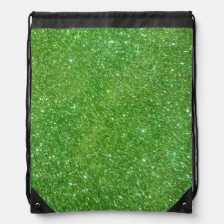 Green Glitter Abstract Texture Drawstring Bag