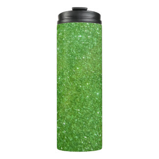 Green Glitter Abstract Texture Thermal Tumbler