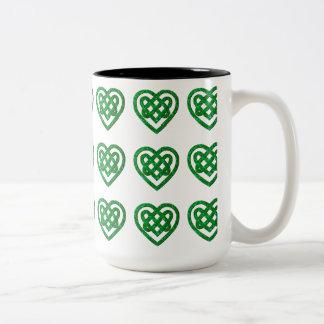 Green Glitter Celtic Heart Knot Pattern Mug Two-Tone Mug