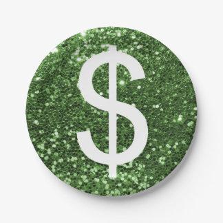 Green Glitter Dollar Sign Money Print 7 Inch Paper Plate