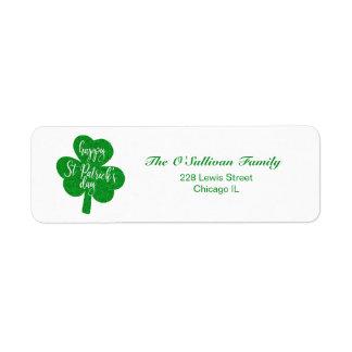 Green Glitter Happy St. Patrick's Day Shamrock Return Address Label