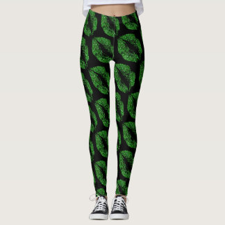 Green Glitter Lips Modern Black Leggings