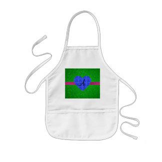 Green glitter monogram blue roses kids' apron
