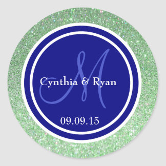 Green Glitter & Navy Blue Wedding Monogram Seal Round Sticker