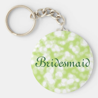 Green Glitter Personalized Bridesmaid Basic Round Button Key Ring