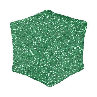 Green glitter pouf