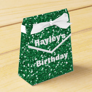 Green Glitter Printed Party Favor Box Any Occasion