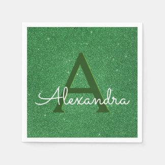Green Glitter & Sparkle Monogram Initial Birthday Paper Napkin