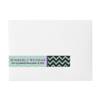 Green Glitter & Sparkles With Black Chevron Wraparound Address Label