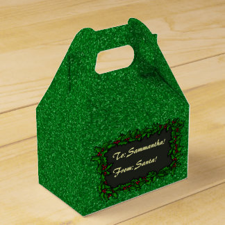 Green Glitter with Holly Present Label Party Favour Boxes