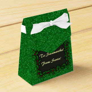 Green Glitter with Holly Present Label Wedding Favour Box