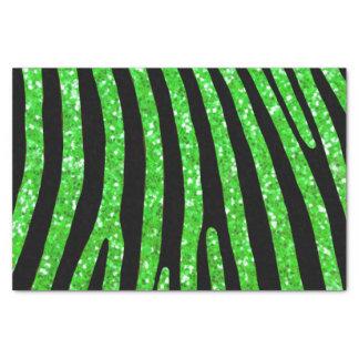 Green Glitter Zebra Stripe Tissue Paper