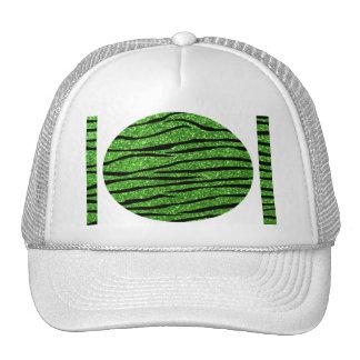 Green glitter zebra stripes trucker hat