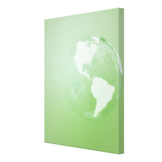 Green Globe Stretched Canvas Print