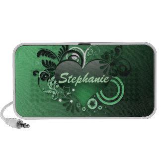 green glossy heart doodle speaker