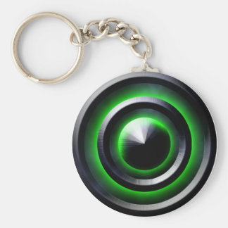 Green Glow Basic Round Button Key Ring