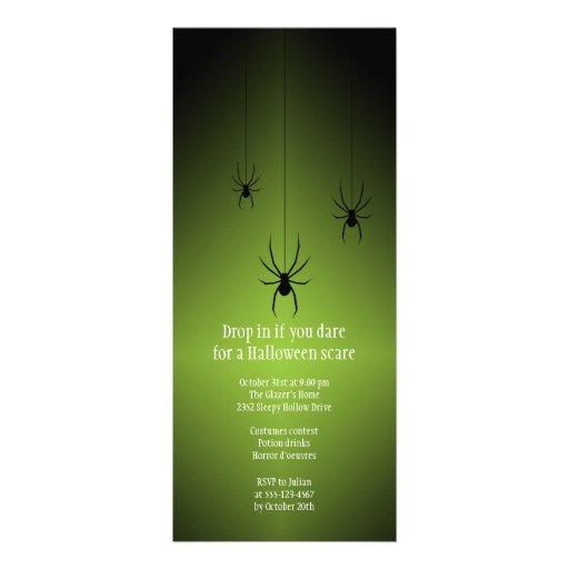 Green glow black spider Halloween invitation card