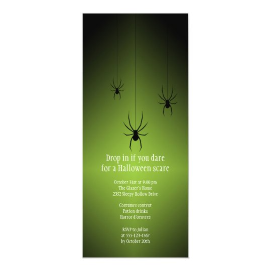 Green glow black spider Halloween invitation card
