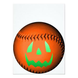 Green Glow Jack O' Lantern Baseball Invites