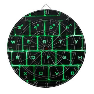 Green glow QWERTY computer keyboard keys Dart Boards