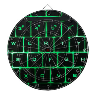 Green glow QWERTY computer keyboard keys Dartboard