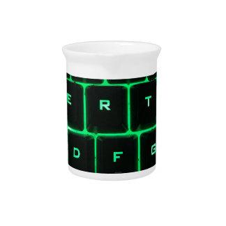 Green glow QWERTY computer keyboard keys Drink Pitcher