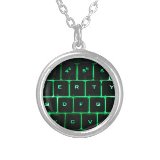 Green glow QWERTY computer keyboard keys Silver Plated Necklace
