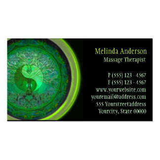 Green Glow Yin Yang Tree of Life Double-Sided Standard Business Cards (Pack Of 100)