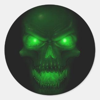 Green Glowing Skull Round Sticker