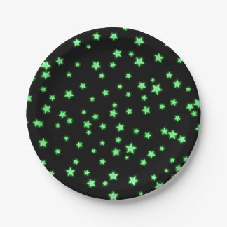 Green Glowing Stars Birthday Party Custom Paper Plate