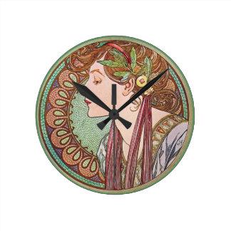 Green Goddess Art Round Clock