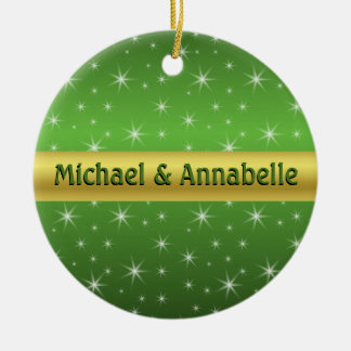 Green, Gold and Stars Personalised Ceramic Ornament