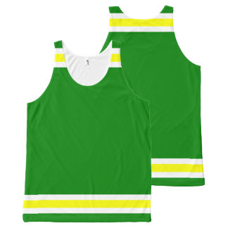 Green Gold and White Trim All-Over Print Tank Top