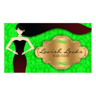 Green Gold Damask Hair Stylist Salon Business Card Template