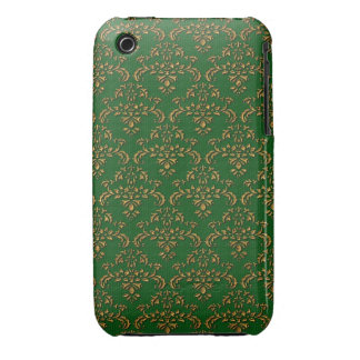 Green & Gold Damask Pattern iPhone 3 Cases