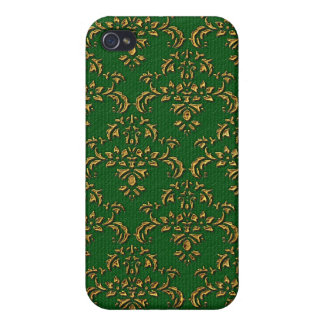 Green & Gold Damask Pern Case For iPhone 4