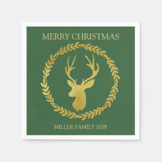 Green Gold Deer Wreath Custom Christmas Napkin Disposable Serviettes