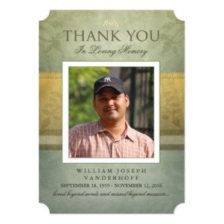 Green & Gold Elegance Thank You Memorial Card