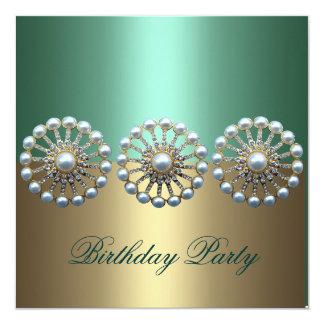 Green & Gold Elegant Pearl Birthday Invitation