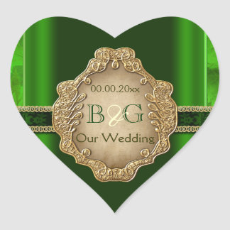 Green gold envelope wedding seal #2 heart sticker