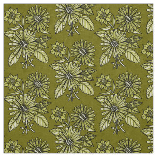 Green-Gold Floral Bouquet Fabric