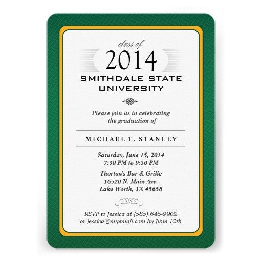 Green & Gold Formal Graduation Party Invite