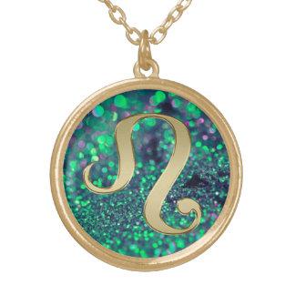 Green Gold Glitter Leo Zodiac Sign Necklace