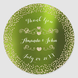 Green Gold Glitter Save the Date Thank You Round Sticker