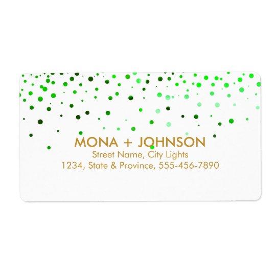 Green Gold Glitter Sparkle Confetti Dots Modern Shipping Label