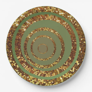 Green & Gold Glitter Swirl and Polka Dot Plates 9 Inch Paper Plate