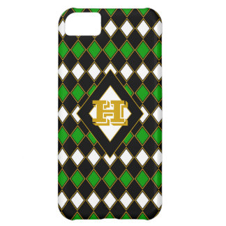 Green & Gold Harlequin Monogrammed iPhone 5C Case