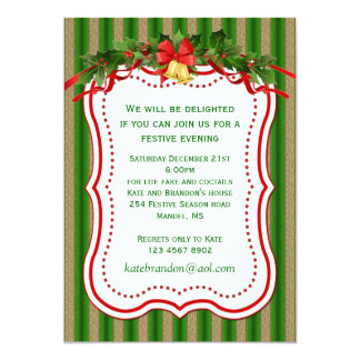 Green gold holly bells Christmas Party Invitation