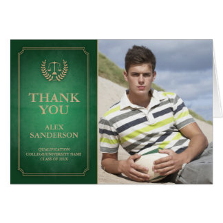 Green/Gold Legal/Law School Graduation Thank You Note Card